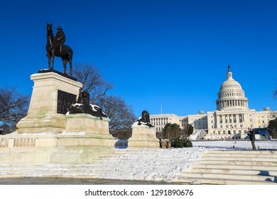 Washington, D.C. / USA - January 15, 2019: A view of the US Capitol building, including the House of Representatives and Senate, during a government shutdown on a cold winter day.