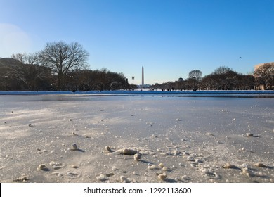 Washington, DC / USA - January 15, 2019: Winter Storm Gia dumps nearly a foot of snow on the National Mall during the longest government shutdown in US history.