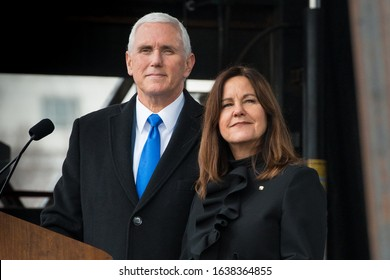 Washington D.C. / USA - January 18, 2019: Vice-President Michael Richard Pence addresses the 47th annual March For Life event in Washington DC with his wife, Karen.