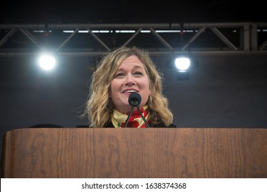 Washington D.C. / USA - January 18, 2019: March for Life President Jeanne F. Mancini addresses the 47th annual March For Life event in Washington DC.