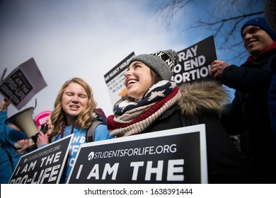 Washington, DC / USA – January 18, 2019: Pro-life supporters participate in the 46th annual March for Life in Washington, DC.