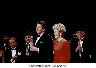 Washington, DC., USA, January 19, 1985President Ronald Reagan and First Lady Nancy Reagan at the Inaugural Gala held at the DC Convention Center. Healined by Frank SInatra.