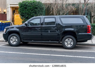 Washington, DC / USA - January 19, 2019: An armored SUV waits for Kim Yong Chol, North Korea's lead negotiator for denuclearization, who is in Washington, DC for high-level government meetings.