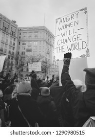 WASHINGTON D.C., USA - JANUARY 19, 2019: A woman holds a sign at the Women's March in Washington D.C. on January 21, 2019