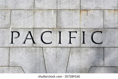 WASHINGTON DC, USA - JANUARY 2, 2016: Pacific engraved into the World War II memorial at the National Mall to display the states and territories around the Pacific ocean.