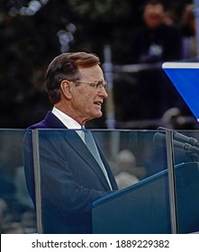 Washington DC, USA, January 20, 1989 Newly sworn in as the 41st President of the United States George H.W.Bush delivers his inaugural address from behind the bullet proof glass of the podium