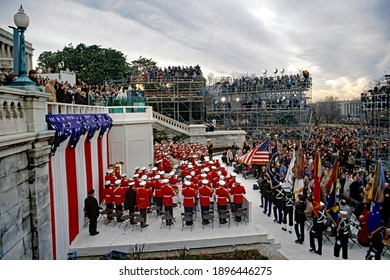 Washington DC, USA, January 20, 1989 Inauguration of George H.W. Bush as the 41st President of the United States. The Presidential color guard conducts the presentation of the colors
