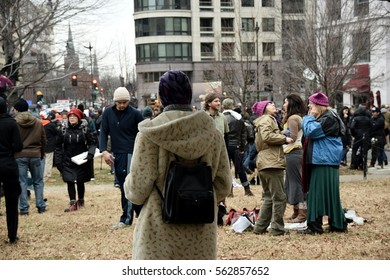 Washington D.C., USA- January 20, 2017: Editorial. Images from a Protest in McPherson Park on Inauguration Day for Donald Trump. Protesters carried signs and gave speeches.