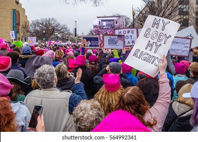 Washington DC, USA January 21, 2017. Protesters holding signs in crowd at the Women's March in Washington DC.