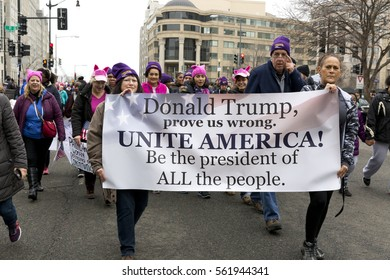 Washington DC, USA - January 21st, 2017. Women's March on Washington Protesters
