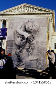 Washington, DC., USA, January 22, 1991 The annual March for Life protest in front of the US Supreme Court.