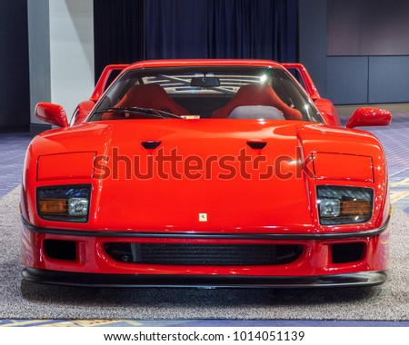 WASHINGTON, DC, USA -- January 25, 2018: a Ferrari F40 is on display at the Washington, DC Auto Show.