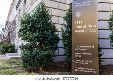 Washington DC, USA - January 28, 2017: IRS Internal Revenue Service building with sign
