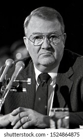 Washington DC. USA, January 29, 1985. Attorney General designate Edwin Meese during his second day of testimony in front of the Senate Judiciary Committee during his confirmation hearing.