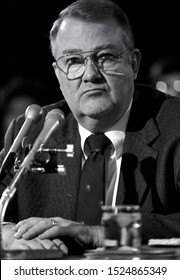 Washington DC. USA, January 29, 1985 Attorney General designate Edwin Meese during his second day of testinomy in front of the Senate Judiciary Committee during his confirmation hearing.