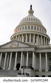 WASHINGTON D.C., USA - JANUARY 30, 2020: United States Capitol Building in Washington DC. US government monument in capital. National politics power, legislation concept.