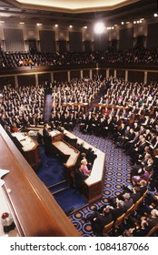 Washington DC., USA, January 31, 1990 President George H.W. Bush delivers his State of the Union Address to a joint session of Congress.
