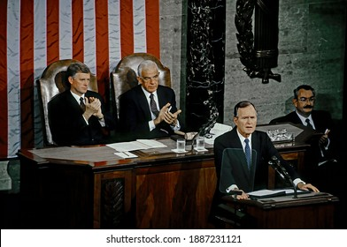 Washington, DC. USA, January 31, 1990 President George H.W. Bush delivers his Address Before a Joint Session of the Congress on the State of the Union,