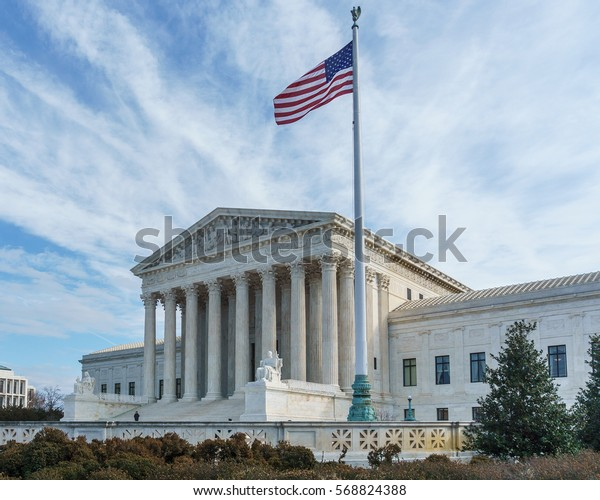 Washington, DC, USA -- January 31, 2017: The Supreme Court awaits President Trump's nominee, Judge Neil Gorsuch, who if confirmed will fill the late Antonin Scalia's seat on the bench.