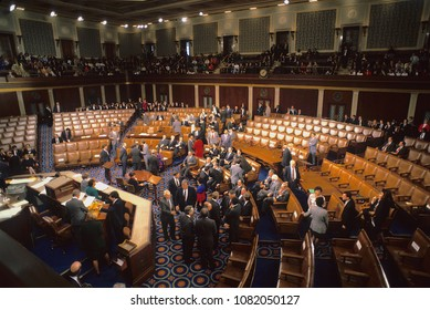 Washington DC., USA, January 6, 1993 Vice President Dan Quayle presides over the counting of the electoral ballots during a joint session of Congress in the House of Representatives.