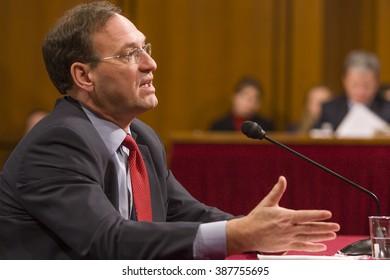 WASHINGTON, DC, USA - JANUARY 6, 2010: Judge Samuel A. Alito Jr., U.S. Supreme Court nominee, during confirmation hearings before the Senate Judiciary Committee.
