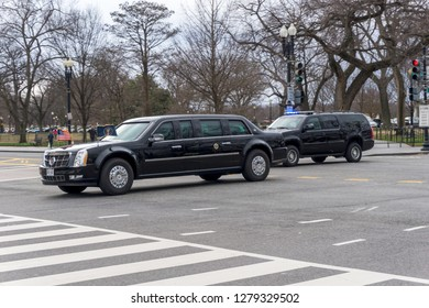 Washington, DC / USA - January 9, 2019: President Trump and Vice President Pence ride in the motorcade to Capitol Hill to lunch with Republican leadership.
