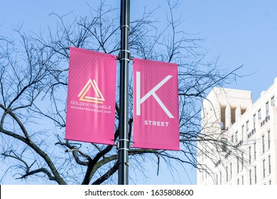 Washington, DC, USA- January12, 2020: Sign of K Street.  K Streetis a major thoroughfare in Washington, D.C. known as a center for numerous lobbyists and advocacy groups.