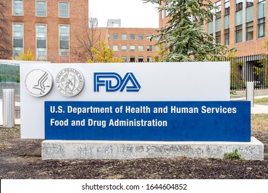 Washington, D.C., USA- January13, 2020: FDA Sign outside their  headquarters in Washington. TheFood and Drug Administration(FDAorUSFDA) is afederal agency of the USA.