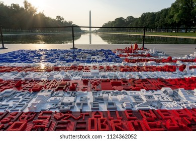 "Washington, DC / USA - July 1, 2018: to celebrate LEGO""s 60th anniversary, a giant American Flag is being made out of LEGOs for the 4th of July in Washington, DC."