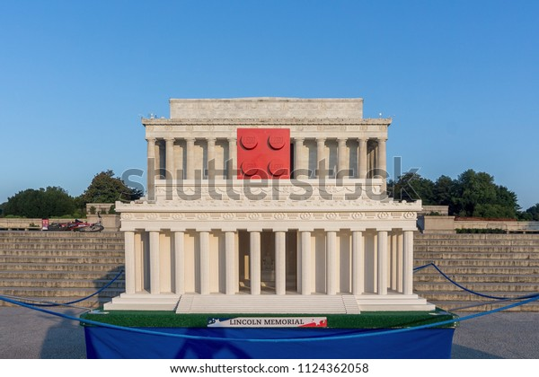 Washington, DC / USA - July 1, 2018: to celebrate LEGO's 60th Anniversary, an 8-foot wide LEGO Lincoln Memorial is on display in front of the Lincoln Memorial in Washington, DC.