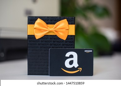 Washington, D.C. / USA - July 10, 2019: A $50 Amazon gift card allows the recipient to purchase items from the Amazon.com website.
