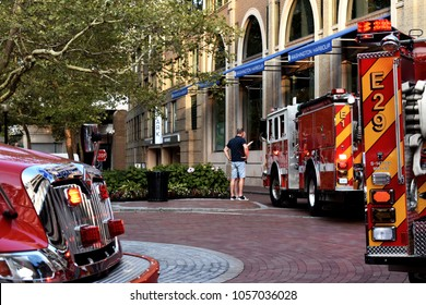 WASHINGTON DC, USA - JULY 15, 2017: District of Columbia Fire and Emergency Medical Services response emergency call