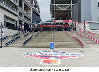 Washington, DC / USA: July 15, 2018: Washington Nationals Park is hosting the 2018 Major League Baseball All-Star Game.