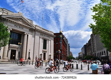 WASHINGTON D.C, USA - JULY 15, 2017 : People drive bikes in Washington D.C.