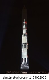 Washington, DC / USA - July 16, 2019: to help commemorate the 50th anniversary of Apollo 11, a life-sized Saturn V moon rocket was projected on the Washington Monument.