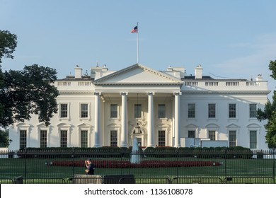 Washington, DC /USA - July 17, 2018: President Trump just returned to the White House after a summit with Russian President Vladimir Putin.