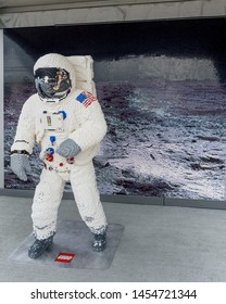 Washington, DC /USA - July 18, 2019: a LEGO version of Neil Armstrong walking on the moon is on display as part of the Apollo 50 Festival on the National Mall.