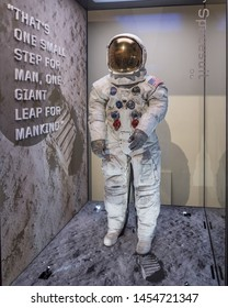 Washington, DC /USA - July 18, 2019: After a several-year restoration, Neil Armstrong's spacesuit in on display in Washington DC in time for the 50th anniversary of Apollo 11's moon landing.