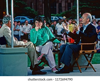"Washington, DC., USA, July 2, 1984  Linda Ellerbee with Secretary of  the Interior James Watt on the set of ""NBC Summer Sunday"" on the mall in DC."
