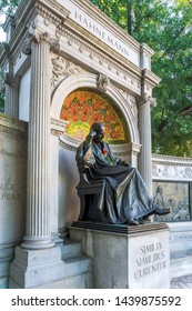 Washington, DC /USA - July 2, 2019: on this day in Paris in 1843, Dr. Samuel Hahnemann, the founder of homeopathy, died.  Pictured is his memorial in Washington, DC on this day.