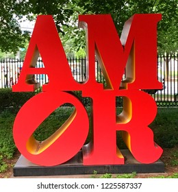 Washington, DC, USA July 21, 2017 Amor, a sculpture in Washington DC by Robert Indiana, plays off of his famous Love sculpture