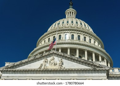 Washington, DC /USA - July 21, 2020: A flag flies at half-staff in honor of Congress John Lewis, who died on July 17.