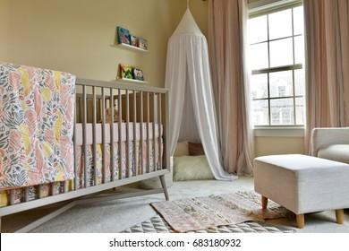 WASHINGTON DC, USA - JULY 21, 2017: A baby girls room with boho design.
