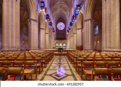 Washington DC, USA - July 22nd 2017 - Interior view of the main aisle in the Cathedral Church of Saint Peter and Saint Paul in Washington DC commonly referred to as Washington National Cathedral.