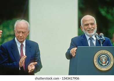Washington, DC., USA, July 25, 1994 Israeli Prime Minister Yitzhak Rabin with King Hussein of Jordan in the Rose Garden of the White House after signing the peace accords.