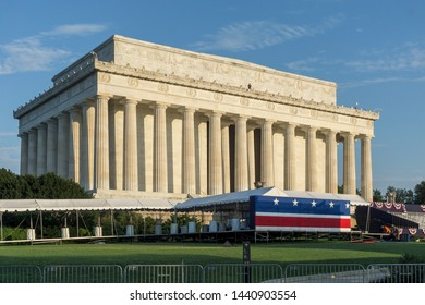 Washington, DC / USA - July 3, 2019: Preparations are almost complete for the president's 4th of July speech at the Lincoln Memorial.