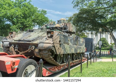 Washington, DC / USA - July 3, 2019: Military tanks are placed near the Lincoln Memorial at the wish of President Trump as part of his 4th of July celebration.