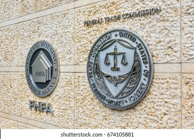 Washington DC, USA - July 3, 2017: Federal Trade Commission and Housing Finance Agency seals in downtown with closeup of sign and logo
