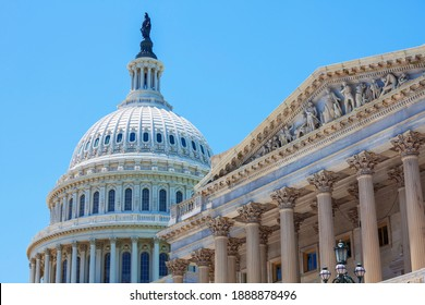 WASHINGTON D.C., USA - JULY 30, 2020: United States Capitol Building in Washington DC. US federal monument in capital. Federal lawmakers house.  Legislation concept.