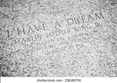 """WASHINGTON DC, USA - JULY 30, 2014: """"I Have a Dream"""" quote engraved on the steps of the Lincoln Memorial memorializing the famous speech by civil rights leader Martin Luther King Jr."""